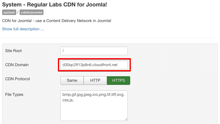 CDN for Joomla!  - Settings